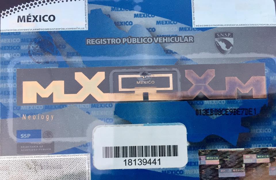 Constancia de inscripción del vehiculo